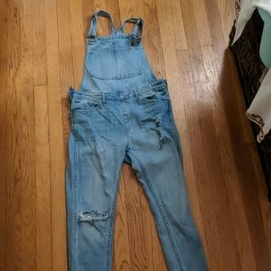 Distressed denim cropped overalls